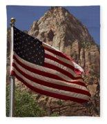U.s. Flag In Zion National Park Fleece Blanket