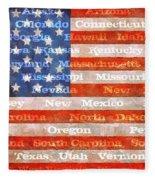 Us Flag With States Fleece Blanket