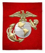 U. S. Marine Corps Eagle Globe And Anchor - E G A On Red Leather Fleece Blanket