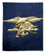 U. S. Navy S E A Ls Emblem On Blue Velvet Fleece Blanket