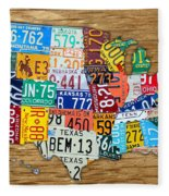 Usa License Plate Map Car Number Tag Art On Light Brown Stained Board Fleece Blanket