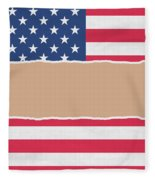 Usa Wrapping Paper Torn Through The Centre Fleece Blanket