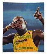 Usain Bolt Painting Fleece Blanket
