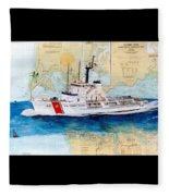 Uscg Alert Coast Guard Chart Map Art Peek Fleece Blanket