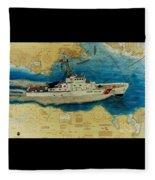 Uscg Cuttyhunk Nautical Chart Art Peek Fleece Blanket