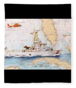 Uscg Sapelo Helicopter Fl Nautical Chart Map Art Peek Fleece Blanket