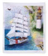 Uscg Tall Ship Eagle Chart Art Peek Fleece Blanket