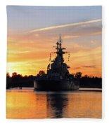 Uss Battleship Fleece Blanket