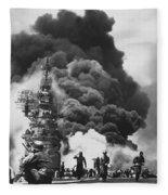 Uss Bunker Hill Kamikaze Attack  Fleece Blanket