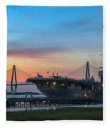 Uss Yorktown Sunset Fleece Blanket