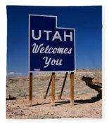 Utah Welcomes You State Sign Fleece Blanket