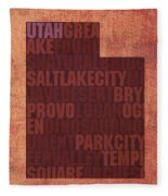 Utah Word Art State Map On Canvas Fleece Blanket by Design Turnpike