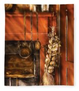 Utensils - Garlic And Spoons Fleece Blanket