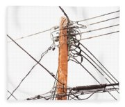 Utility Pole Hung With Electricity Power Cables Fleece Blanket