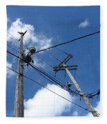 Utility Poles And Clouds 2 Fleece Blanket