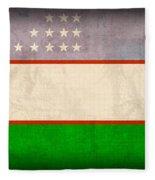 Uzbekistan Flag Vintage Distressed Finish Fleece Blanket