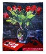 Valentine Roses Fleece Blanket