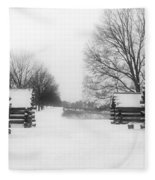 Valley Forge Cabins In Snow Fleece Blanket