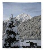 Valley In The Snow Fleece Blanket