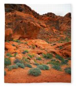 Valley Of Fire Red Sandstone Cliffs Fleece Blanket