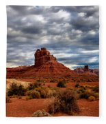 Valley Of The Gods Stormy Clouds Fleece Blanket
