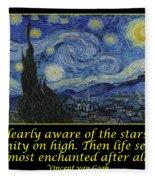 Van Gogh Motivational Quotes - Starry Night II Fleece Blanket