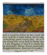 Van Gogh Motivational Quotes - Wheatfield With Crows II Fleece Blanket
