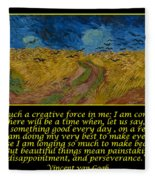 Van Gogh Motivational Quotes - Wheatfield With Crows Fleece Blanket