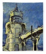 The Frozen Lighthouse Lake Michigan Fleece Blanket