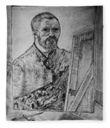 Van Goghs Self Portrait Painting Placed In His Room In Arles France Fleece Blanket