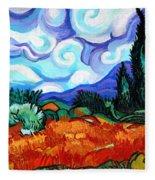 Van Goghs Wheat Field With Cypress Fleece Blanket