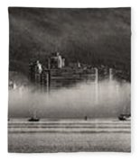 Vancouver Skyline With Fog Over English Bay Fleece Blanket