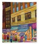 Vanishing Montreal-rainy Day Downtown Streetcar To Morgan's Department Store Fleece Blanket