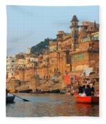 Varanasi From The Ganges River Fleece Blanket