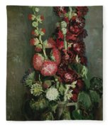 Vase Of Hollyhocks Fleece Blanket