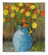 Vase Of Marigolds Fleece Blanket