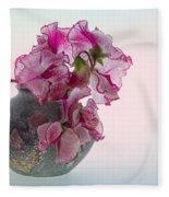 Vase Of Pretty Pink Sweet Peas 2 Fleece Blanket