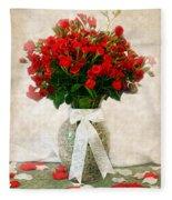 Vase Of Red Roses Fleece Blanket