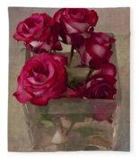 Vase Of Roses Fleece Blanket