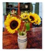 Vase Of Sunflowers Fleece Blanket