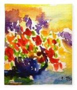 Vase With Multicolored Flowers Fleece Blanket