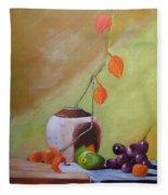 Vase With Orange Leaves And Fruit Fleece Blanket