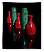 Vases In Dark Fleece Blanket