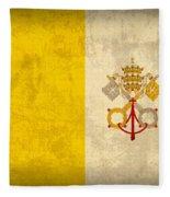 Vatican City Flag Vintage Distressed Finish Fleece Blanket