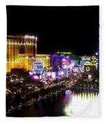 Vegas At Night Fleece Blanket