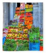 Vegetable And Fruit Stand Fleece Blanket