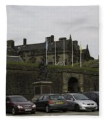 Vehicles At The Parking Lot Of Stirling Castle Fleece Blanket