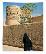 Veiled Woman In Yazd Street In Iran Fleece Blanket