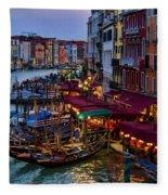 Venetian Grand Canal At Dusk Fleece Blanket