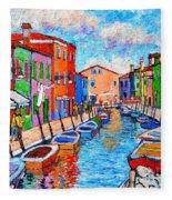 Venezia Colorful Burano Fleece Blanket